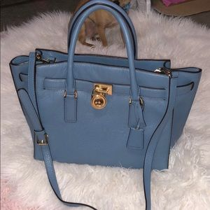 Michael kors purse baby blue handbag over shoulder